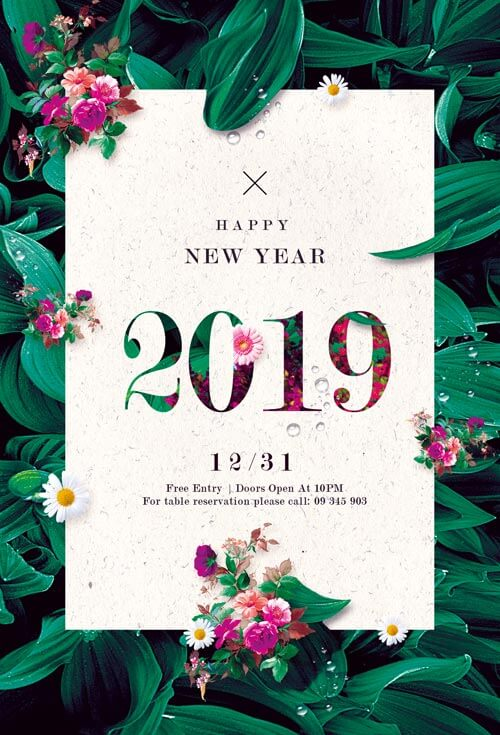 Floral new year flyer