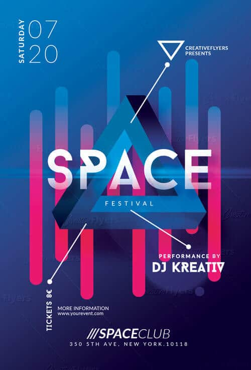 Space Festival Flyer Psd Templates