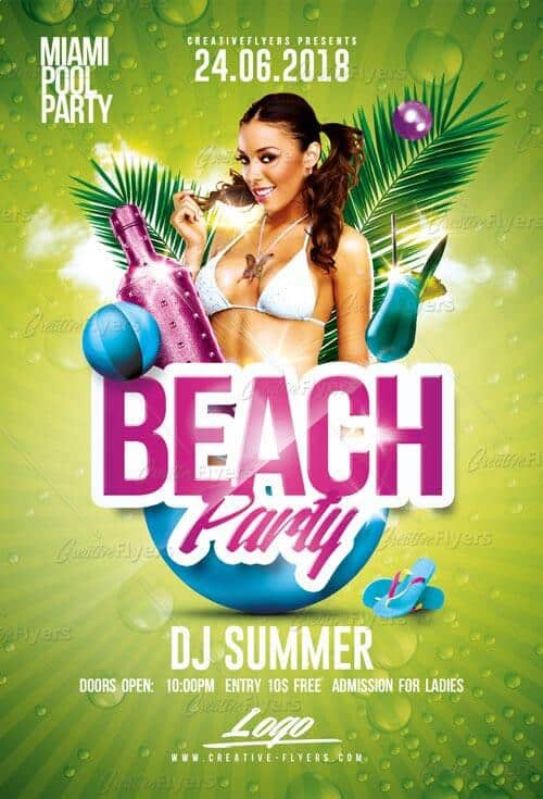 Beach Party Flyer Templates Psd