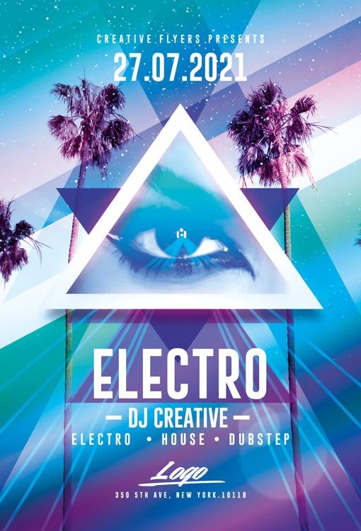 Electro Party Flyer Psd