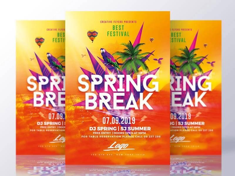 Spring Break Flyer Templates Psd