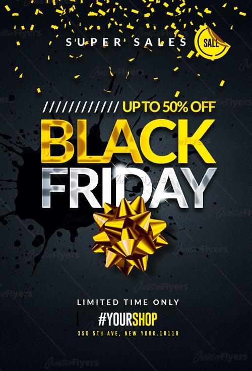2 Black Friday Flyer Psd Sale Templates Creativeflyers
