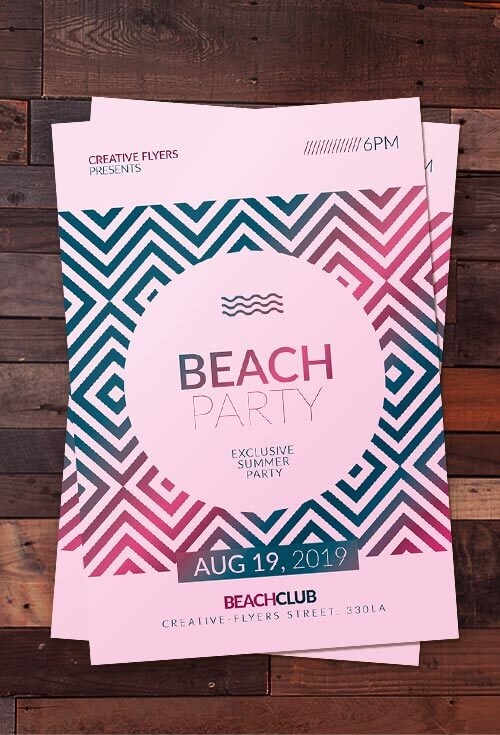 Beach party invitation Psd