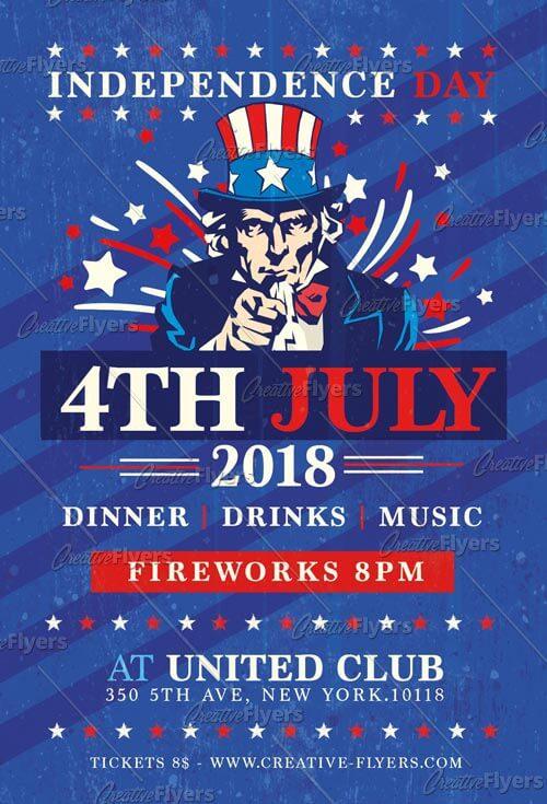 4th of july invitation Psd