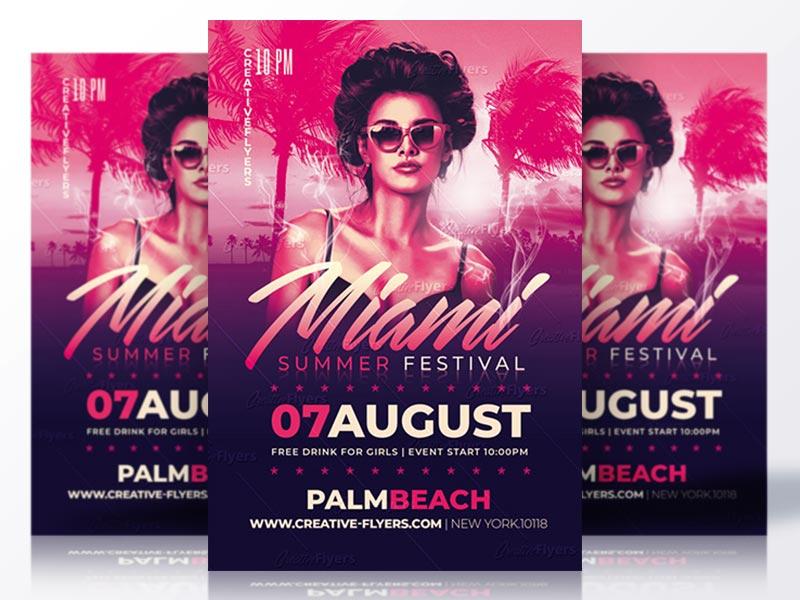 Miami Summer Festival Flyer Psd