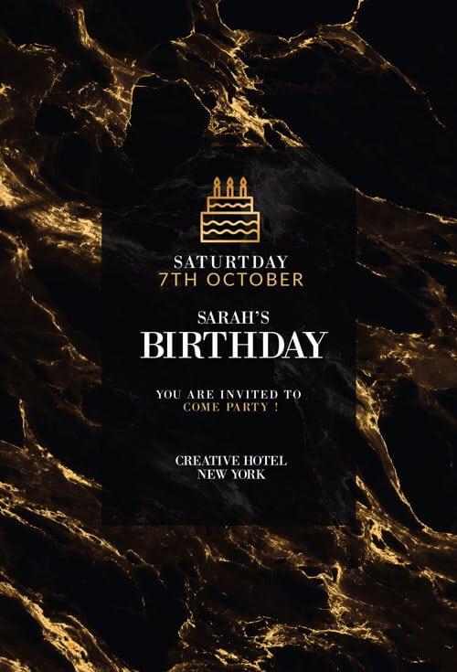 Marble Birthday Invitations