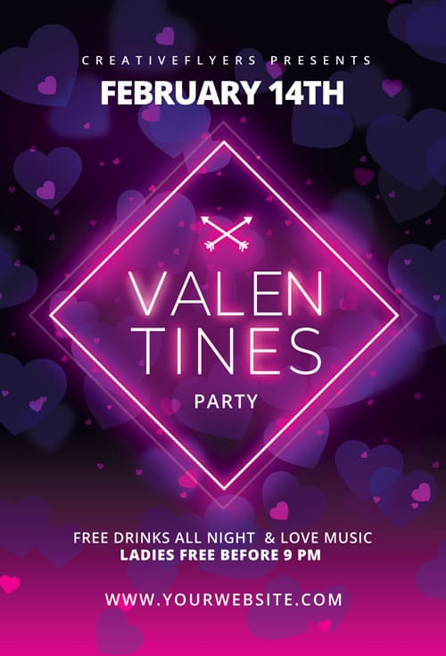 Valentines Flyer with Neon light
