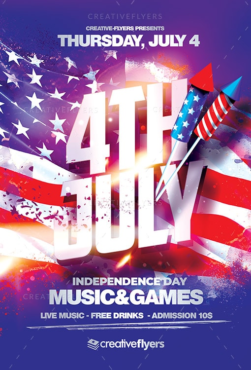 4th July Psd flyer Template