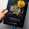 Black & Gold Valentines Party Flyer