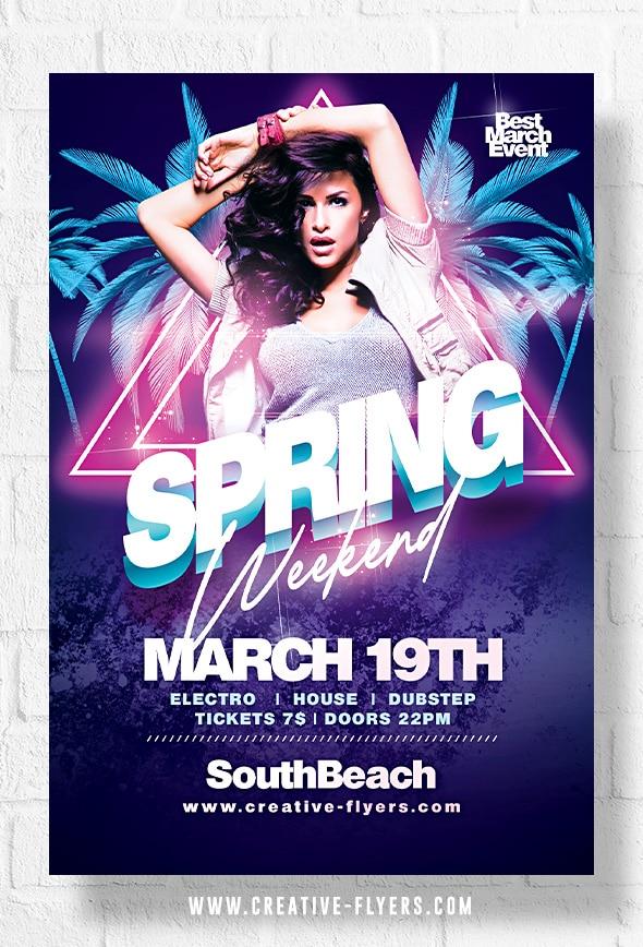 Spring week end flyer template