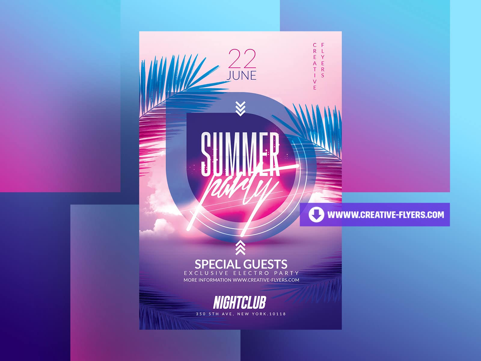 Summer Party Flyer with Neon effects
