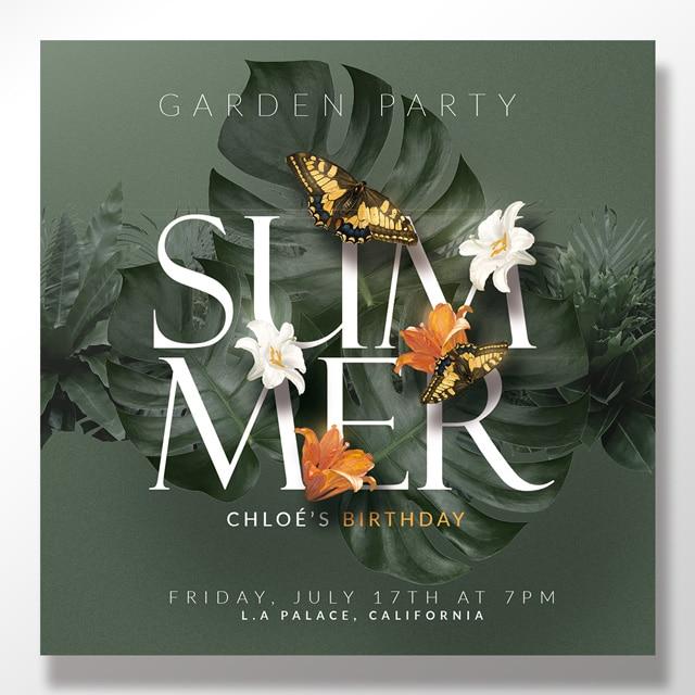 Summer Birthday Card Invitations