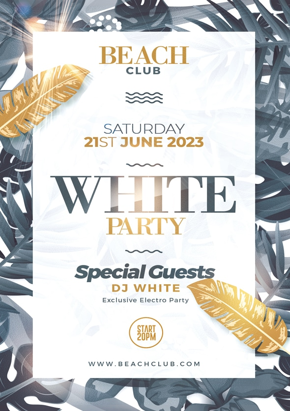 White Party Flyer Design